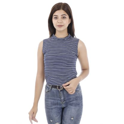 Picture of Striped Turtle Neck Crop Top By Attire Nepal
