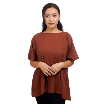 Picture of Women's Super Breezy Spring Brown Top By Attire Nepal