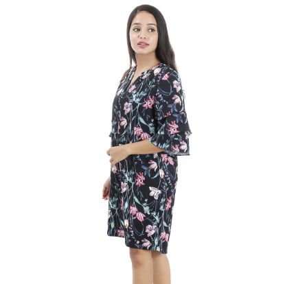 Picture of Women's Round Split Neck Black Floral Ruffle Sleeve Dress By Attire Nepal