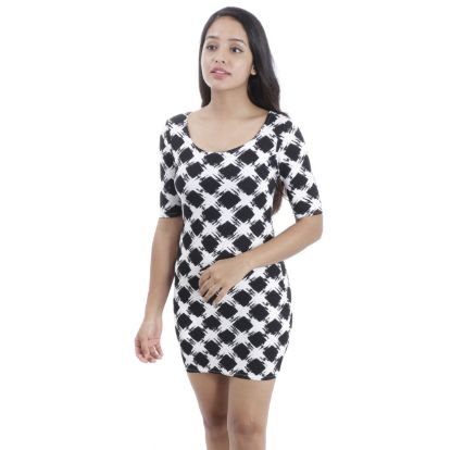 Picture of Geometric Printed Quarter Sleeve Waffle Bodycon Dress By Attire Nepal