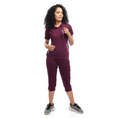 Picture of Women's Half Sleeve T-Shirt With Attached Hood And Quarter Pant Set By Attire Nepal