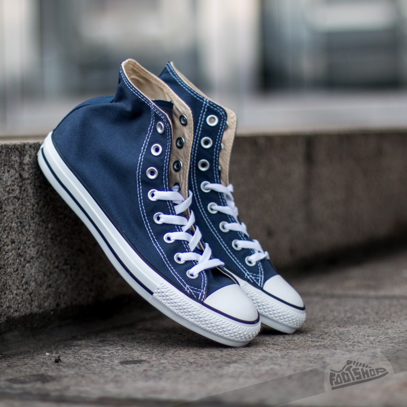 Picture of Converse All Star High Top Chuck Taylor Shoes // Navy Blue Shoes.